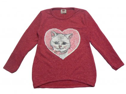 Dívčí svetřík s flitry-TUZZY-kočička v srdci, vel.128-176