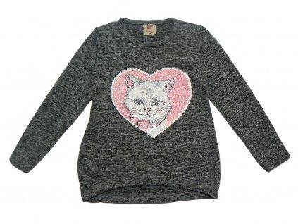 Dívčí svetřík s flitry-TUZZY-kočička v srdci, vel.98-122
