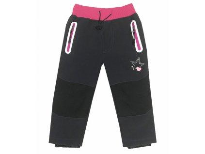 Dívčí softschellové kalhoty s flísem-KUGO B525, vel.86-116